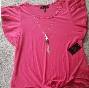 NWT Dark Pink Top with Necklace Size XL